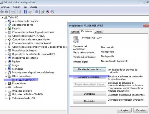 USB FTDI, no se reconoce el dispositivo usb